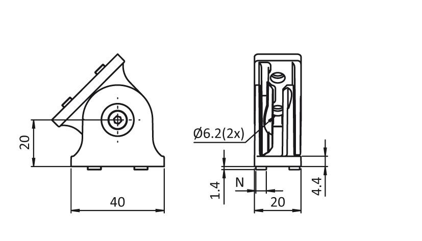 Pivot Joint 20 x 40 2D