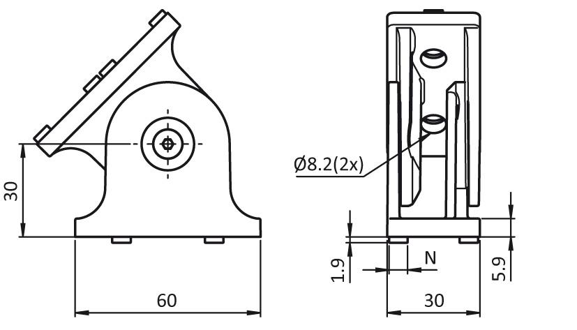 Pivot Joint 30 x 60 2D
