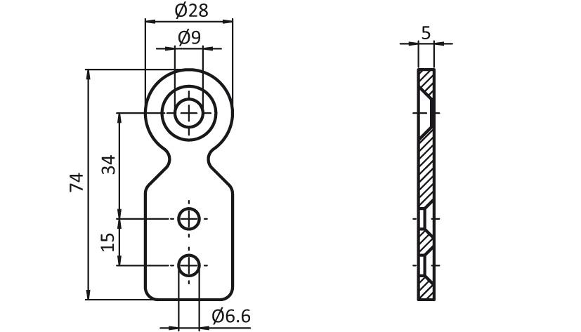 T-Connector Plate D28 2D