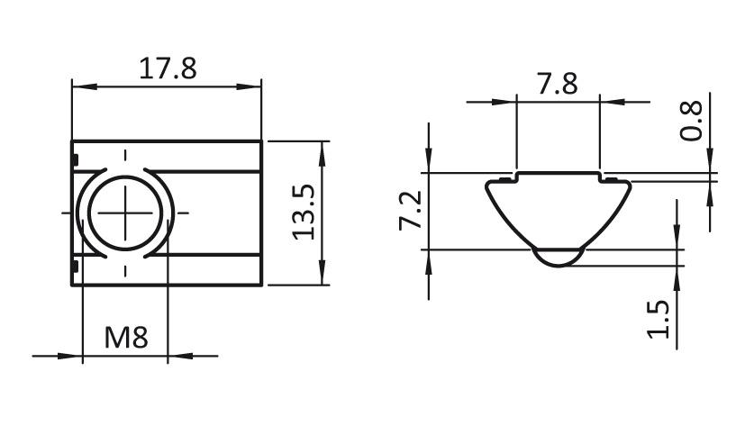 Roll-in T-slot Nut 13.5 x 7.2 mm short 2D
